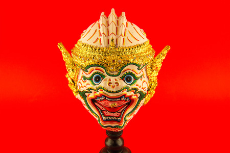 khon: Khon, Monkey mask in native Thai style, use in royal performance, on red background
