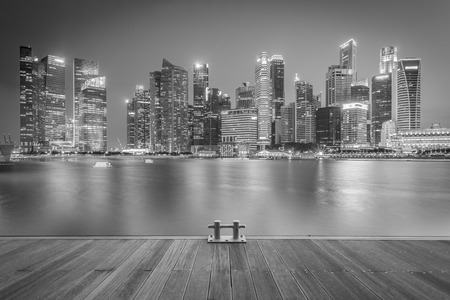 black moor: Landscape of the Singapore financial district and business building. Black and White