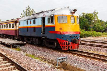 Oude treinwijnoogst bij de Spoorweg van de Staat van de Koninklijke Trein van Thailand.