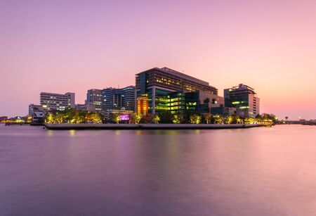 public hospital: Public Hospital at twilight time in the river, Bangkok, Thailand Editorial