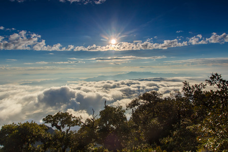 doi: Layer of mountains and mist at sunrise time, Landscape at Doi Luang Chiang Dao, High mountain in Chiang Mai Province, Thailand