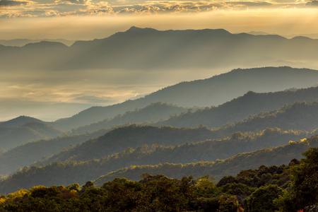 chiang mai: Layer of mountains and mist at sunset time, Landscape at Doi Luang Chiang Dao, High mountain in Chiang Mai Province, Thailand