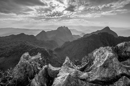 doi: Layer of mountains and mist at sunset time, Landscape at Doi Luang Chiang Dao, High mountain in Chiang Mai Province, Thailand. Black & White