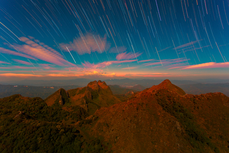 doa: Startrail with Bright Stars and space dust at Doi Luang Chiang Dao, High mountain in Chiang Mai Province, Thailand