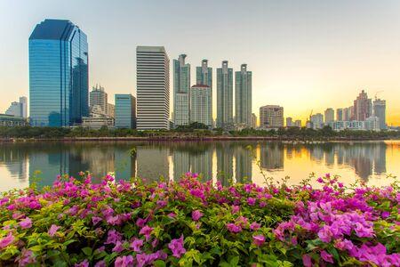 benjakitti: Bangkok city downtown at sunrise with reflection in Bangkok,Thailand