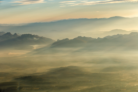 doi: Layer of mountains and mist at sunset time, Landscape at Doi Luang Chiang Dao, High mountain in Chiang Mai Province, Thailand