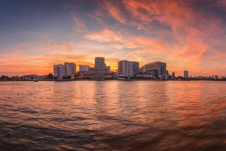 public hospital: Public Hospital at twilight time in the river, Bangkok, Thailand Stock Photo
