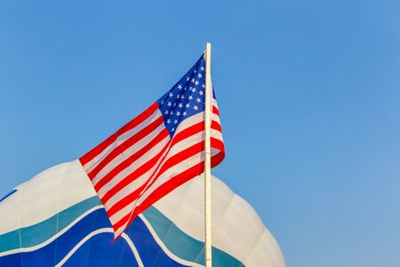 allies: American flag on the blue sky in balloon festival. Stock Photo