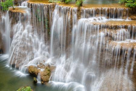 rocks water: Water flowing over rocks in Huai Mae Khamin waterfall cascade in a forest.