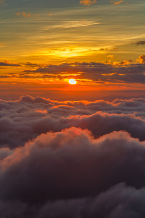 alp: Sun and the mist at sunrise time, Landscape at Doi Luang Chiang Dao, High mountain in Chiang Mai Province, Thailand