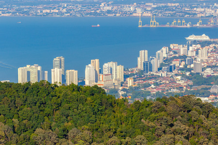 penang: Top view of Georgetown, capital of Penang Island, Malaysia from top of Penang hill.
