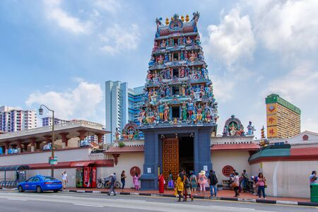 tekka: SINGAPORE - JUNE 26, 2015: The Sri Veerama Kaliamman Temple in ethnic district Little India in Singapore. Little India is commonly known as Tekka in the local Tamil community.
