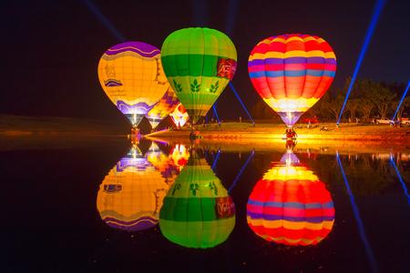 adventure aeronautical: CHIANG RAI, THAILAND FEBRUARY 13, 2016:Singha Park Chiang Rai Balloon Fiesta 2016 will take place between February 10th and 14th at Singha Park Chiang Rai Editorial