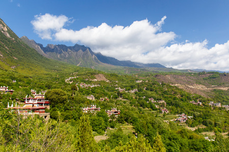 known: Danba Tibetan Villages at blue sky in sunshine day, are known as the most beautiful villages all over China