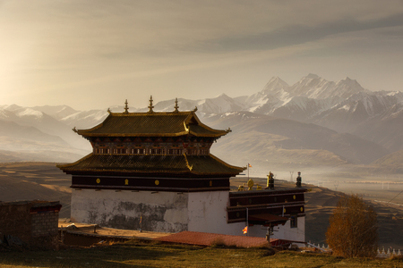 atmospheric pressure: Silhouette image chinese temple or tibet style and landmarks public place in Ganzi, Sichuan, China