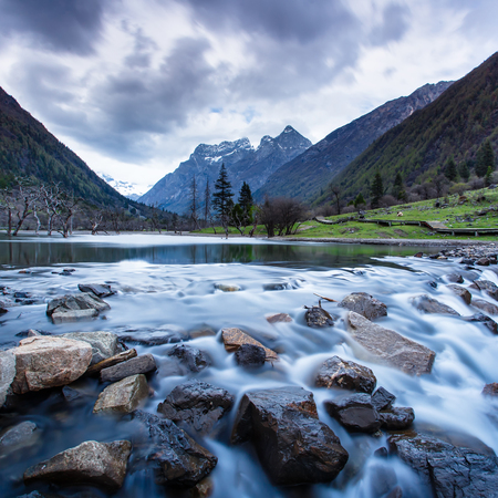 four peaks wilderness: Little lake and mount Siguniang is the highest peak of Qionglai Mountains in Western China, and Qiang Autonomous Prefecture, Sichuan Province