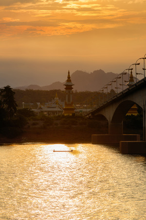 conection: Third Thai - Lao Friendship Bridge at sunset time, Nakhon Phanom Province, Thailand