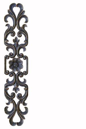 carve: Brown frame carve flower on white background Stock Photo