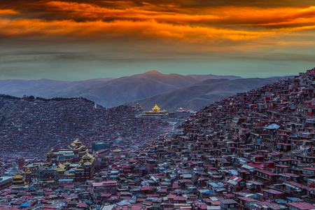 gar: Top view monastery at Larung gar (Buddhist Academy) in sunset time, Sichuan, China