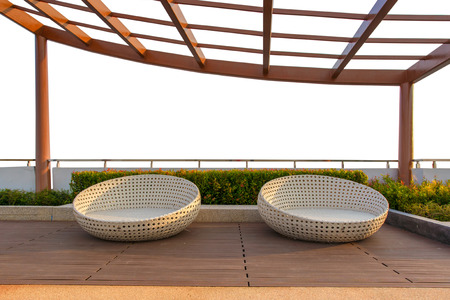 lowboard: Relax corner on condominium rooftop garden with chairs on white background