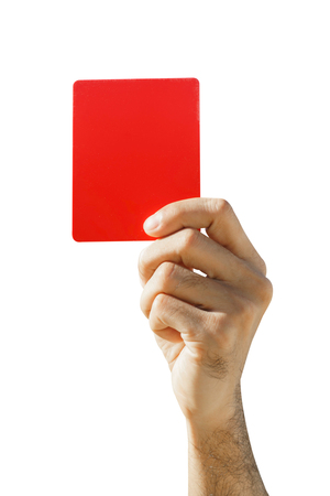 admonition: Hand of soccer referee showing red card on white background