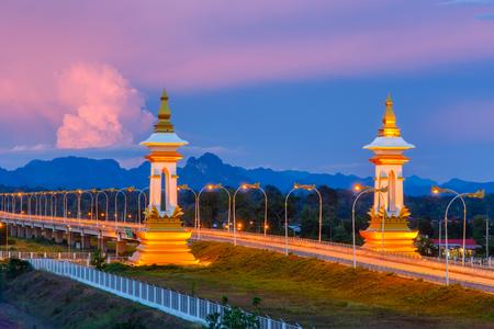 conection: Third Thai Lao Friendship Bridge at twilight time, Nakhon Phanom Province, Thailand