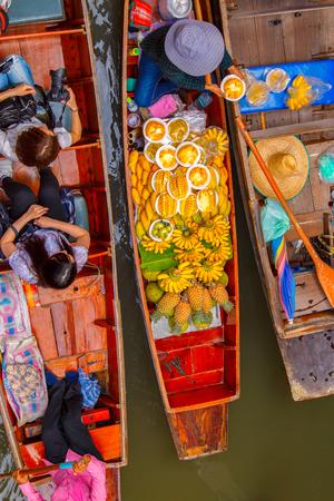 saduak: Top view Damnoen Saduak floating market in Ratchaburi near Bangkok, Thailand