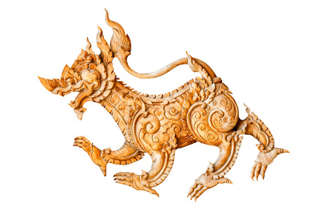ministry: Traditional thai style pattern lion or singha wood carve on white background Stock Photo