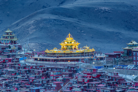 Top view monastery at Larung gar (Buddhist Academy) in sunset time, Sichuan, China