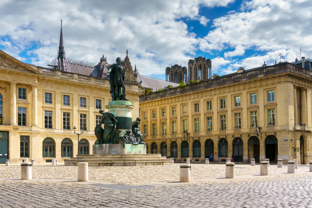 champagne region: Statue in the city of Reims. Champagne region, France