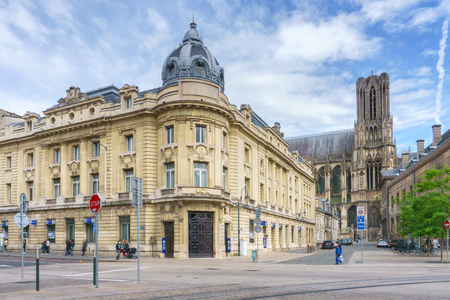 champagne region: REIMS, FRANCE - JULY 2, 2016: Architecture of Reims, a city in the Champagne-Ardenne region of France. Editorial