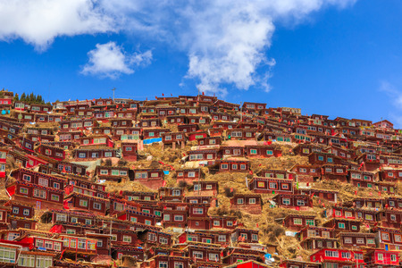 warren: Red monastery at Larung gar (Buddhist Academy) in sunshine day and background is blue sky, Sichuan, China