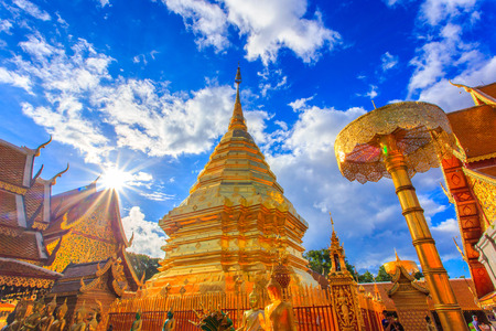 Wat Phra That Doi Suthep is tourist attraction of Chiang Mai, Thailand 版權商用圖片