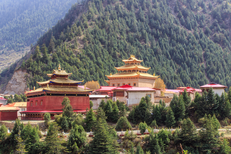 atmospheric pressure: Chinese temple or pagoda tibet style and landmarks public place in Ganzi, Sichuan, China Stock Photo