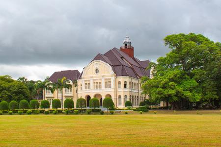 banned: Phra Ram Ratchaniwet (Wang Ban Peun) king Rama 5 palace in raining day, Phetchaburi Province, Thailand Editorial