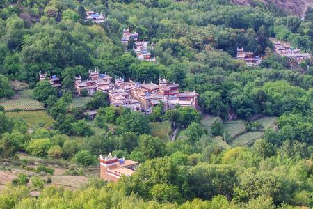tibetan house: Danba Tibetan Villages at blue sky in sunshine day