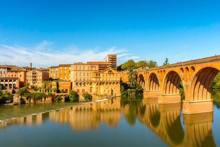 Albi in Southwestern France. Albi is famous for Toulouse-Lautrec and the Cathedral Saint Cecile. View of the Tarn River and the Cathedral Saint Cecile.