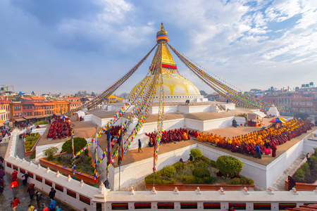 Beautiful of boudhanath stupa in morning time at Kathmandu, Nepal Editorial