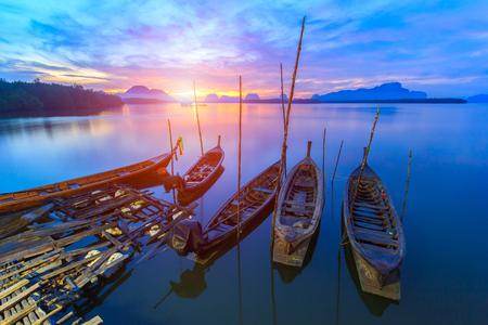 phangnga: Fishing village and sunrise at Samchong-tai, Phangnga, Thailand Stock Photo