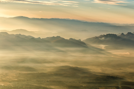 doa: Layer of mountains and mist at sunset time, Landscape at Doi Luang Chiang Dao, High mountain in Chiang Mai Province, Thailand