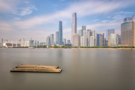 Skyline and buildings new city from river with modern city landmark architecture in Guangzhou China Stock Photo