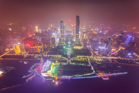 Top view of the central business district of Guangzhou city at dusk Standard-Bild