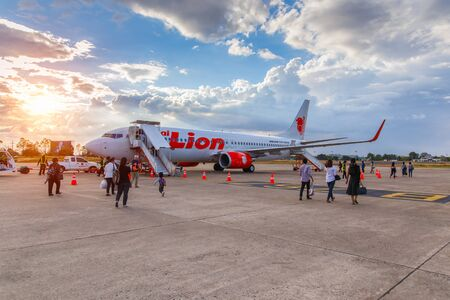 UBON RATCHATHANI,THAILAND-JANUARY 9, 16: Boeing 737-900 Thai Lion Air landed at Ubon Ratchathani Airport,Bangkok,Thailand on January 9, 2016.Thai Lion Airways is the new low cost airline in Thailand.