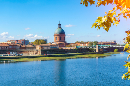 The Saint-Pierre bridge passes over the Garonne and it was completely rebuilt in 1987 in Toulouse Haute-Garonne Midi Pyrenees southern France.