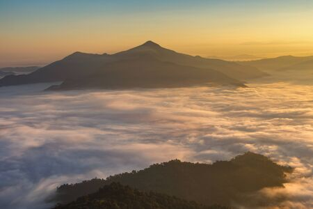 Landscape with the mist at Pha Tung mountain in sunrise time, Chiang Rai Province, Thailand