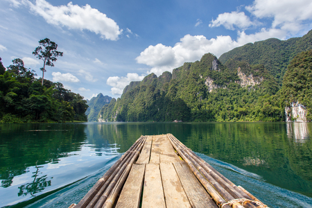 Beautiful mountains lake river sky and natural attractions in Ratchaprapha Dam at Khao Sok National Park, Surat Thani Province, Thailand