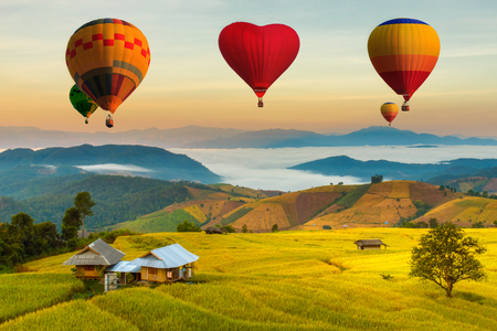 Colorful hot air balloons flying over green terraced rice field in pa pong piang at Mae Chaem, Chiang Mai Province, Thailand