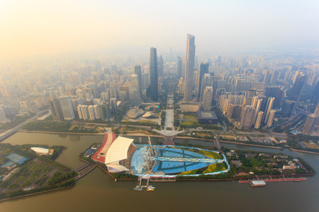 guangdong: Top view of the central business district of Guangzhou city at dusk Stock Photo