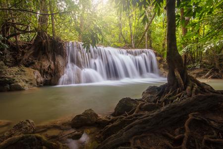 Huai Mae Khamin waterfall in deep forest, Thailand Stock Photo
