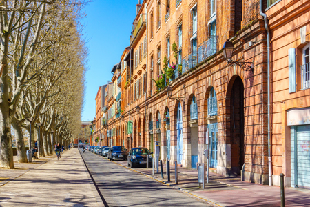 TOULOUSE, FRANCE - MARCH 26, 2017 - Typical street view in old town, Toulouse, France